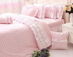 Online Shop 2014 New Korean Ruffle Bedding Sets, Cute Kids Character Duvet Cover Bedding Set, Romantic Pink Polka Dot Bedding Sets Shabby Chic Bedding Sets, Pink Bedding Set, Target Bedding, Polka Dot Bedding, Cute Bedding, Cheap Bedding Sets, Shabby Chic Pink, Ruffle Bedding, Shabby Chic Bedrooms