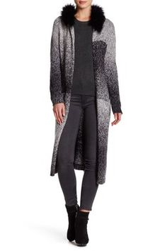 Faux Fur Hooded Long Cardigan