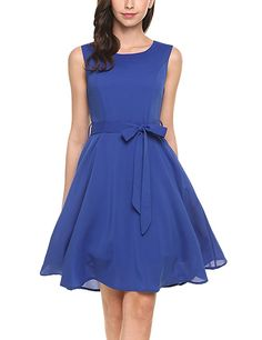 d0b1411c54a OURS Women s Summer Sleeveless Chiffon Pleated Cocktail Party Dress With  Belt at Amazon Women s Clothing store