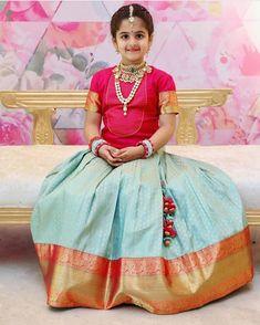 So adorable ❤️ . Frocks For Girls, Dresses Kids Girl, Kids Outfits, Kids Dress Wear, Kids Gown, Kids Wear, Kids Indian Wear, Kids Ethnic Wear, Designer Sarees Wedding