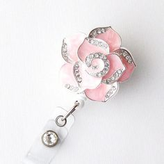 Pink Petal Bling - Pretty Badge Holder - Unique Badge Reels - Stylish ID Badge Clip - Nurse Jewelry - Teacher Gift - RN Badges - BadgeBlooms on Etsy, $18.00