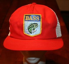 be6cd46312b Vintage BASS FISHING mesh Fisherman SNAPBACK CAP Truckers Hat-sewn patch- RARE!