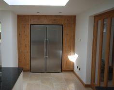 fridge and oak paneling
