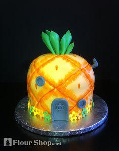 3-D Replica Birthday Cake of SpongeBob Squarepants undersea pineapple home.
