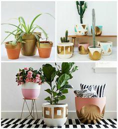 """Dale color a tus plantas. Es tiempo de interiores, de mantita y sofá. Pero no por ello vamos a cerrar las puertas a las plantas y flores que han adornado nuestras terrazas. Como vimos en el post """"decorar con cactus"""" existen muchas variedades de plantas aptas para su uso Terracotta Plant Pots, Cement Pots, Painted Flower Pots, Painted Pots, Plants Are Friends, Concrete Crafts, Diy Planters, Cool Ideas, Plant Decor"""