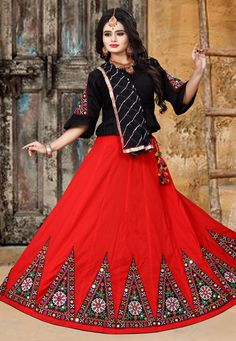 Buy Red Cotton Navratri Chaniya Choli 182193 online at best price from vast collection of Lehenga Choli and Chaniya Choli at Indianclothstore.com. Navratri Dress, Lehenga Dupatta, Kutch Work, Navratri Special, Long Blouse, How To Dye Fabric, Black Fabric, Half Sleeves, Sleeve Styles