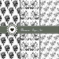 Black and White Digital Paper Wedding Digital by blossompaperart