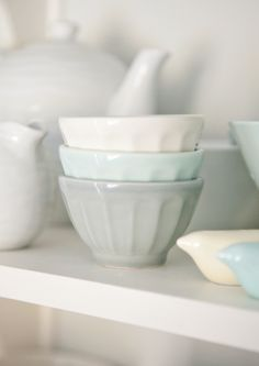 boxwood clippings_anthro bowls.  Love the soft milky pastels for spring