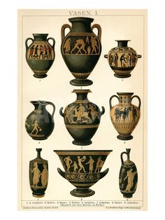 1898 antique Pottery of ancient Greece print, vintage cereamic vases engraving, Amphora art object Archeology color years old Art Antique, Antique Pottery, Antique Prints, Ancient Greek Art, Ancient Greece, Greek Pottery, Greek History, Classical Art, Greek Gods