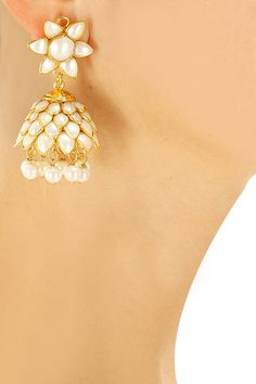 Gold plated pearl jhumki earrings available only at Pernia's Pop-Up Shop.