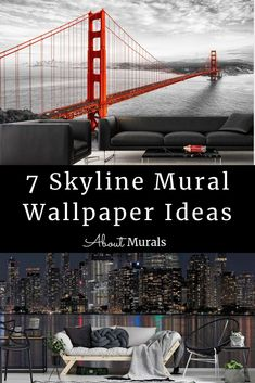 These 7 ideas for a skyline mural, as seen on TV, add a feeling of excitement and glam to your walls. Whether you're planning a Toronto themed living room or a Golden Gate Bridge bedroom, you'll get inspired here! See cityscape wallpaper from New York City, Manhattan, Montreal and Chicago. Photo murals are all printed on removable wallpaper.