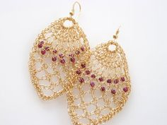 New Collection - Impressive Crochet Knitting Goldfilled Garnet Lace Earrings… Wire Jewelry Earrings, Pearl Earrings Wedding, Lace Earrings, Lace Jewelry, Pearl Stud Earrings, Earrings Handmade, Crochet Earrings, Handmade Jewelry, Garnet Earrings