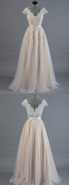 Elegant A line v neck lace long prom dress, lace evening dress – trendty