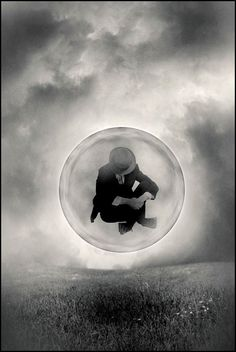 ♂ black and white art Dream imagination surrealism  Tommy Ingberg man in a bubble