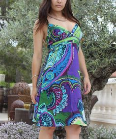 Take+a+look+at+the+Turquoise+&+Purple+Paisley+V-Neck+Dress+on+#zulily+today!