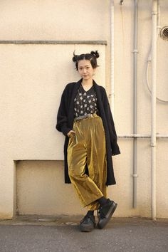 Gold velvet oversized trousers, print blouse, black trench and big black cons(ish).