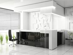 Black back-painted glass reception desk. Adds light and a strong graphic element to an otherwise stark space.