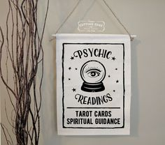 Psychic Readings Crystal Ball - Tarot Cards Spiritual Guidance l Cotton Canvas Banner Canvas Wall Decor, Wall Art, Wall Banner, Spirited Art, Card Drawing, Tarot Learning, Tarot Readers, Spiritual Guidance, Psychic Readings