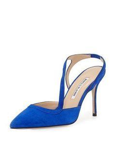 Parros+Asymmetric+Point-Toe+Slingback,+Blue+by+Manolo+Blahnik+at+Bergdorf+Goodman. #manoloblahnikheelsbergdorfgoodman