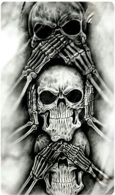 See no evil, Hear no evil, Speak no evil skull tattoo design Evil Skull Tattoo, Evil Tattoos, Skull Tattoo Design, Skull Design, Skull Tattoos, Body Art Tattoos, Sleeve Tattoos, Tattoo Designs, Demon Tattoo