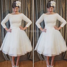 Find A Elegant Long Sleeve Tea Length Wedding Dresses Simple Tulle Lace Short Wedding Dress Pretty Wedding Gowns Bridal Dresses Online Shop For U !
