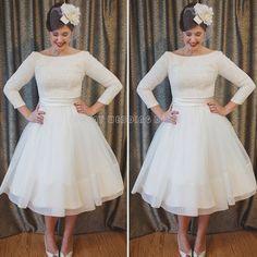 Find A Elegant Long Sleeve Tea Length Wedding Dresses Simple Tulle Lace Short Wedding Dress Pretty Wedding Gowns Bridal Dresses  Online Shop For U !