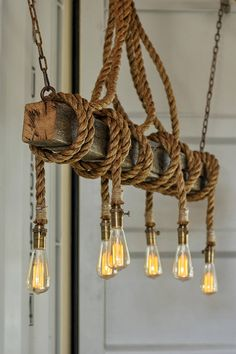 The - Industrial Rope Light - Barn Beam Pendant - Wood Ceiling Chandelier - Accent Hanging Lighting - Rustic Edison Bulb Chandelier Picture, Cheap Chandelier, Iron Chandeliers, Chandelier Lighting, Rope Lighting, Hanging Chandelier, Lighting Ideas, Wood And Metal Chandelier