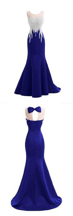long ,mermaid,royal blue, beaded,backless ,Floor Length, Prom Dress, 2018 new fashion ,Prom Dresses