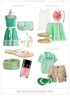 What to Wear :: Pink, Green and Gold Summer Party from the TomKat Studio!