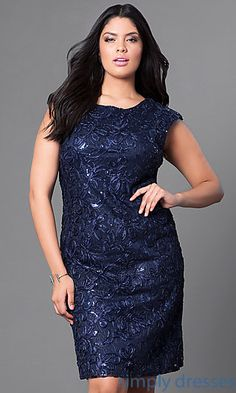 d74c1befe6 Sequin Accented Knee-Length Plus Dress with Cap Sleeves Plus Size Party  Dresses
