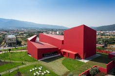 design JM CasaArtes Modern Architecture With Vivid Red Coating: Casa das Artes in Portugal