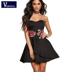 >> Click to Buy << vintage Women Elegant embroidery dress formal 2017 New Fashion Spring Summer dresses Royal Black Strapless A-Line Mini Dress #Affiliate
