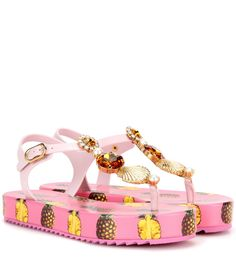 Dolce & Gabbana - Embellished platform sandals - We love the whimsical vibe of these sandals from Dolce & Gabbana with their quirky pineapple-printed platform sole and glamorous embellishment. Glass crystals, a gold-tone seashell and a faux pearl add shimmer and shine. Wear the pretty pink pair with a bikini and silk wrap skirt for a look that's beach holiday ready. seen @ www.mytheresa.com