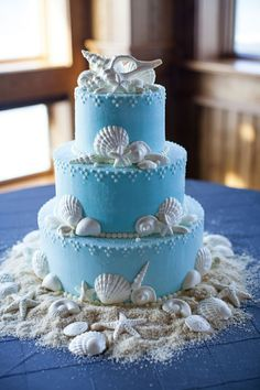 A coastal cake perfect for a wedding on the beautiful Outer Banks! #OBX…