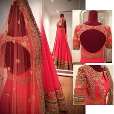 Bride - Sangeet Beautiful Coral Anarkali by EYSH Indian Wedding Outfits, Pakistani Outfits, Indian Outfits, Indian Clothes, Indian Weddings, India Fashion, Ethnic Fashion, Asian Fashion, Indian Look