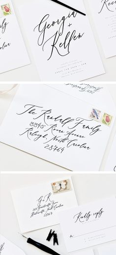 Modern Calligraphy Wedding Invitation from Tied & Two