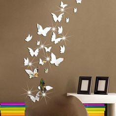 - Butterflies Pattern Mirror Decal Art Mural Wall Stickers Home Decor & Garden 3d Mirror Wall Stickers, Wall Stickers Home Decor, Wall Stickers Murals, Living Room Ornaments, 3d Sticker, Mirror Decal, Diy Mirror, Wall Mirror, Butterfly Wall Decals