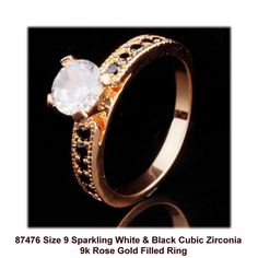 Size 9 Sparkling White & Black  Cubic Zirconia 9k Rose Gold Filled Ring +Box #Unbranded #Cocktail