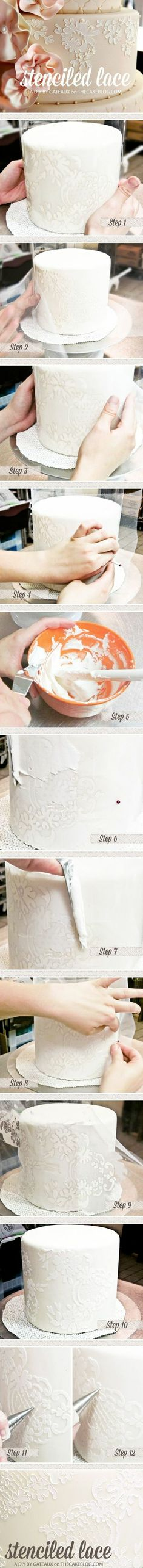 Stenciled Lace Cake Tutorial | by Gateaux Inc | TheCakeBlog.com