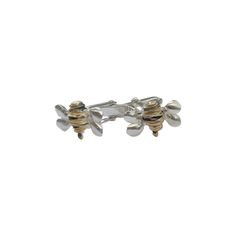 Fi Mehra - Wrapped silver wire bumblebee cuff-links with oxidised and yellow gold plate stripes Trade Fair, Cufflinks, British, Plate, Wire, Stripes, Stud Earrings, Jewellery, Yellow