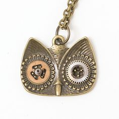 Steampunk Owl Head Necklace is handmade in bronze The steampunk owl eyes necklace is decorated with recycled watch components Handmade in
