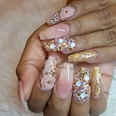 Need some nail art inspiration? browse these beautiful nail art designs and get inspired! Fabulous Nails, Gorgeous Nails, Pretty Nails, Ghetto Fabulous, Fancy Nails, Bling Nails, Glitter Nails, Glam Nails, Rhinestone Nails
