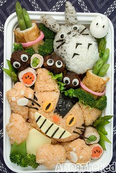 TOTALLY making this for the kiddos...cat bus, totoro and soot sprite lunch.
