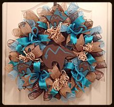 SouthWestern Bear Burlap Deco Mesh Wreath/Burlap Wreath/SouthWestern Bear Wreath/Turquoise Wreath by CKDazzlingDesign on Etsy https://www.etsy.com/listing/219480278/southwestern-bear-burlap-deco-mesh