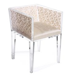 Floral Lace Chair made of clear lucite frame and legs and Venetian lace and silk upholstery