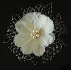 Etsy Transaction - Feather Fascinator, Bridal Fascinator, Wedding Hair Flower, Bridal Headpiece - DANIELLE