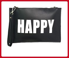 Melie Bianco Clutch Wristlet Cross Body Bags Purse Handbag (HAPPY-SAD/Black/White) - Crossbody bags (*Amazon Partner-Link)