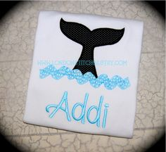 Girls or Boys Personalized Whale Tail Tee T Shirt or onesie Sea World Summer Vacation Killer Whale Shamu. $24.00, via Etsy.