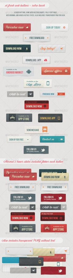 18 Fresh Web Buttons - Retro Touch