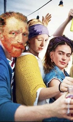 Hipster artists modernized from Van Gogh, Frida Kahlo and Vermeer. Vincent Van Gogh, Bd Pop Art, Arte Van Gogh, Mona Lisa Parody, Frida Art, Photocollage, Art Memes, Arte Pop, Classical Art